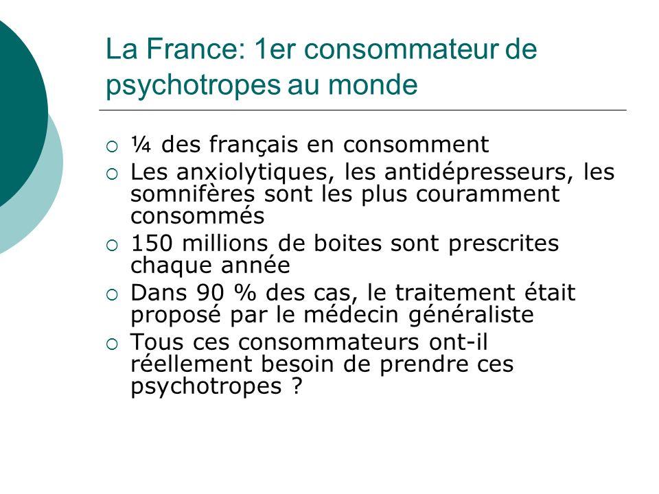 La France: 1er consommateur de psychotropes au monde ¼ des français en consomment Les anxiolytiques, les antidépresseurs, les somnifères sont les plus