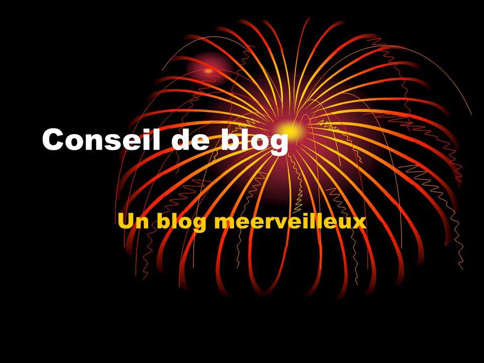 Conseil de blog Un blog meerveilleux