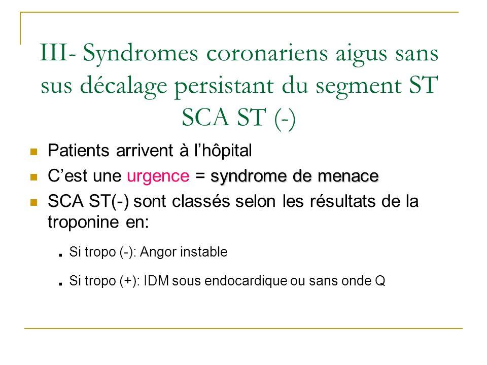 Patients arrivent à lhôpital syndrome de menace Cest une urgence = syndrome de menace SCA ST(-) sont classés selon les résultats de la troponine en:.