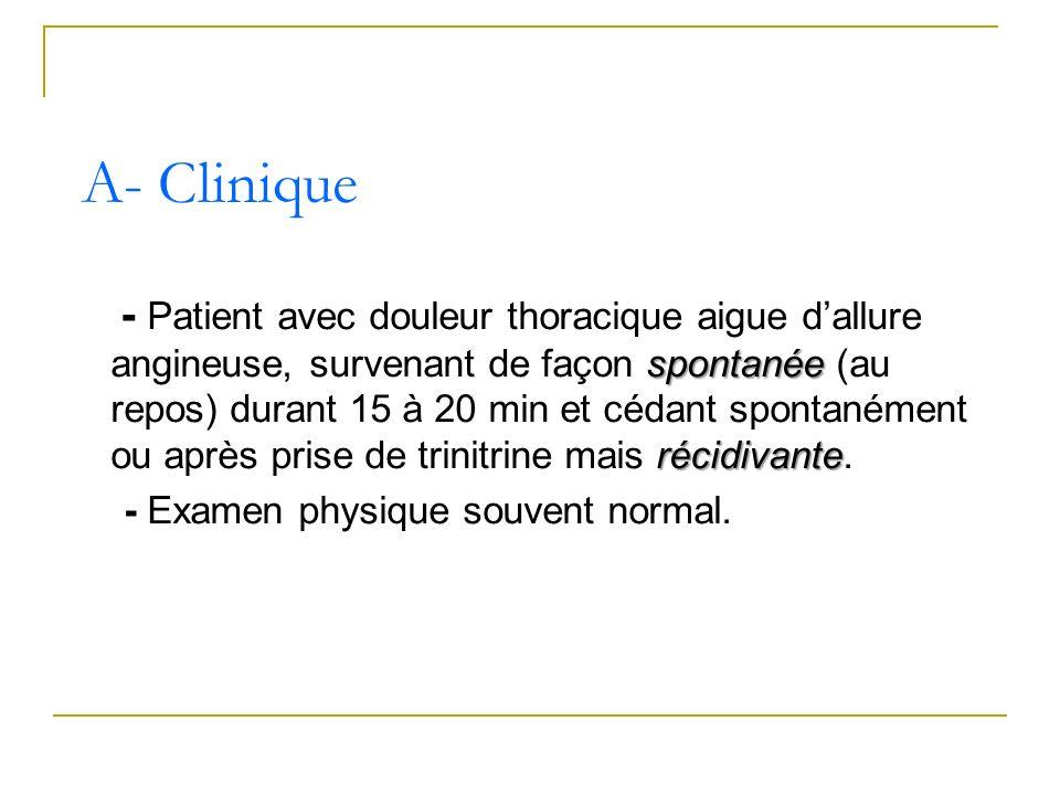spontanée récidivante - Patient avec douleur thoracique aigue dallure angineuse, survenant de façon spontanée (au repos) durant 15 à 20 min et cédant