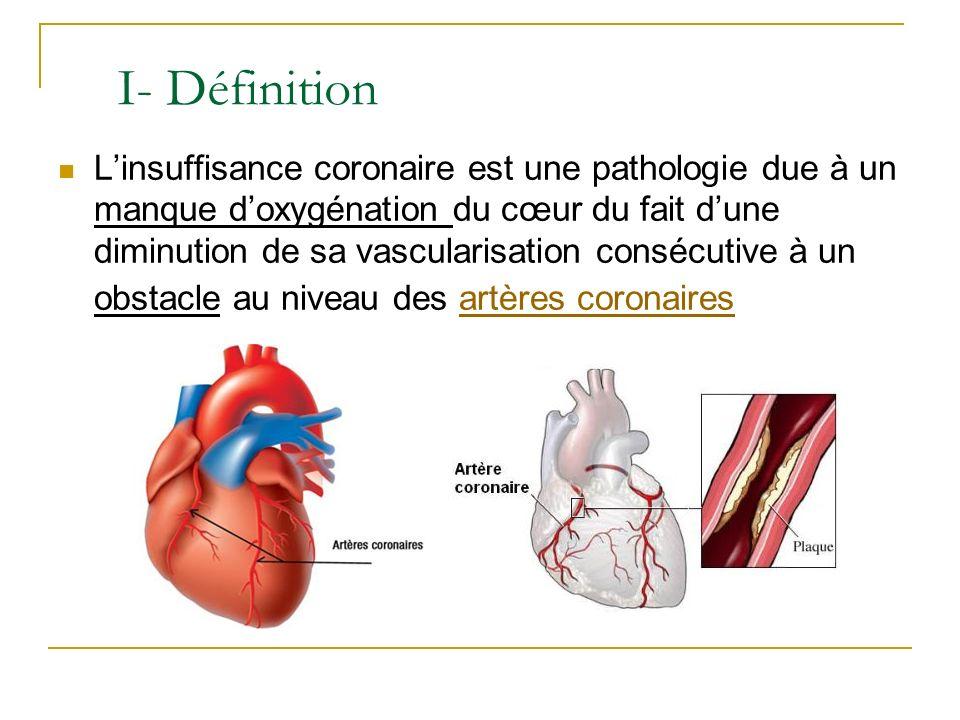 Linsuffisance coronaire est une pathologie due à un manque doxygénation du cœur du fait dune diminution de sa vascularisation consécutive à un obstacl
