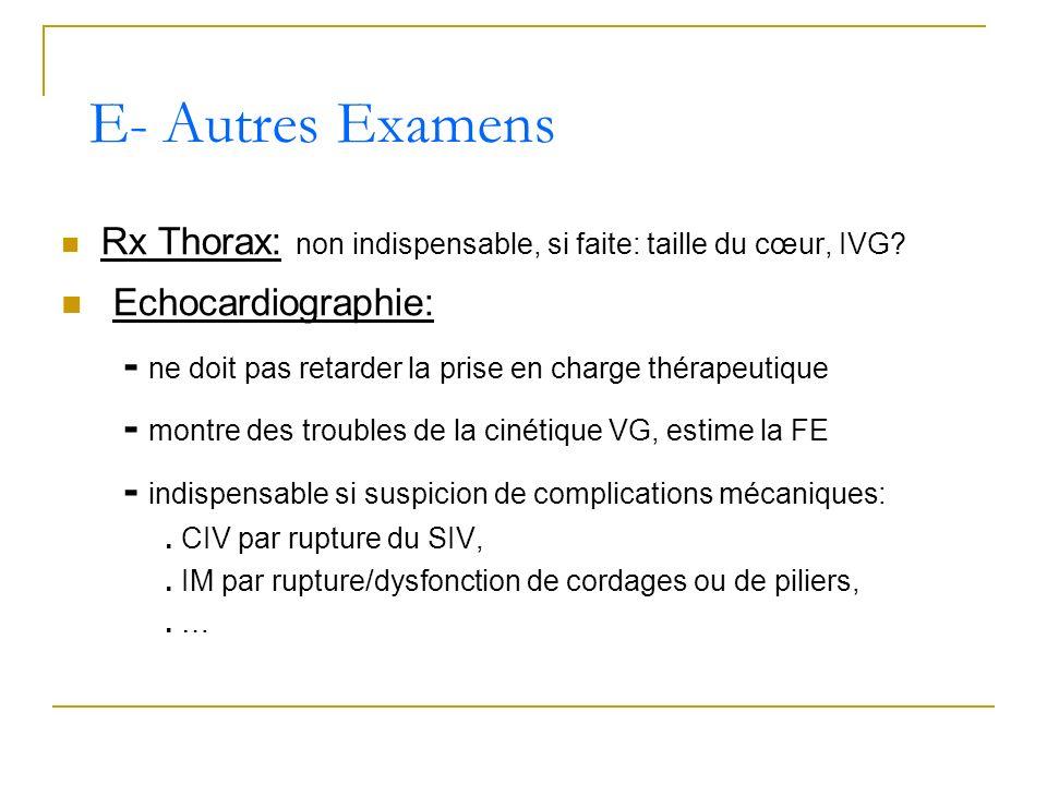 Rx Thorax: non indispensable, si faite: taille du cœur, IVG? Echocardiographie: - ne doit pas retarder la prise en charge thérapeutique - montre des t