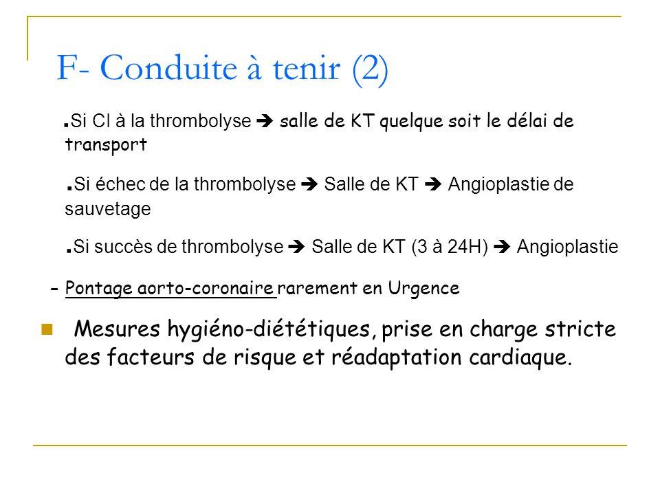 . Si CI à la thrombolyse salle de KT quelque soit le délai de transport. Si échec de la thrombolyse Salle de KT Angioplastie de sauvetage. Si succès d