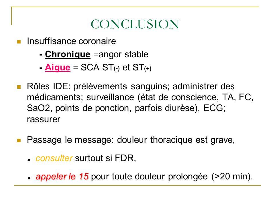 CONCLUSION Insuffisance coronaire - Chronique =angor stable - Aigue = SCA ST (-) et ST (+) Rôles IDE: prélèvements sanguins; administrer des médicamen