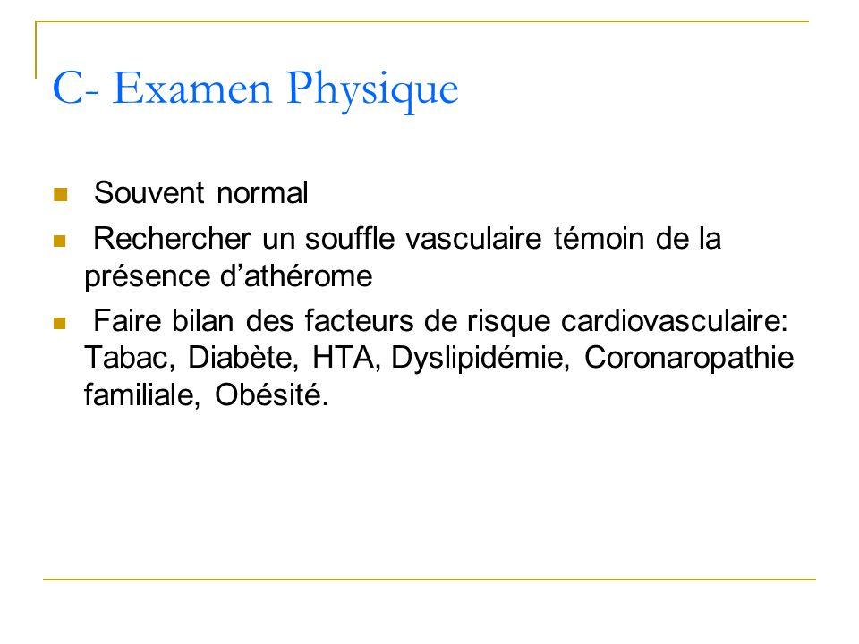Souvent normal Rechercher un souffle vasculaire témoin de la présence dathérome Faire bilan des facteurs de risque cardiovasculaire: Tabac, Diabète, H