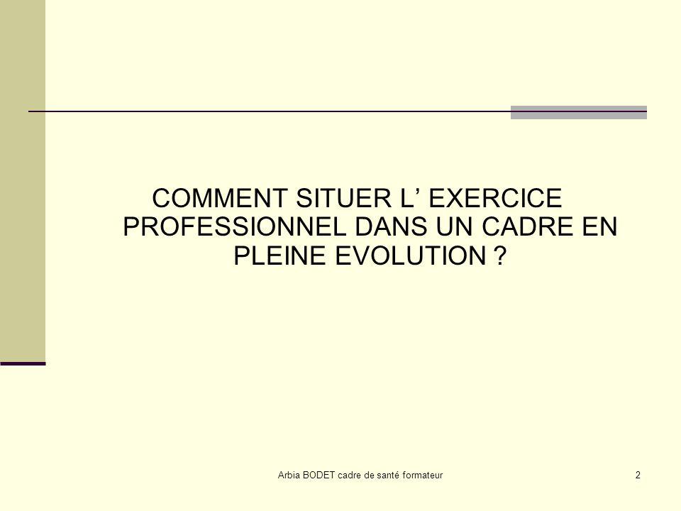 Arbia BODET cadre de santé formateur2 COMMENT SITUER L EXERCICE PROFESSIONNEL DANS UN CADRE EN PLEINE EVOLUTION ?
