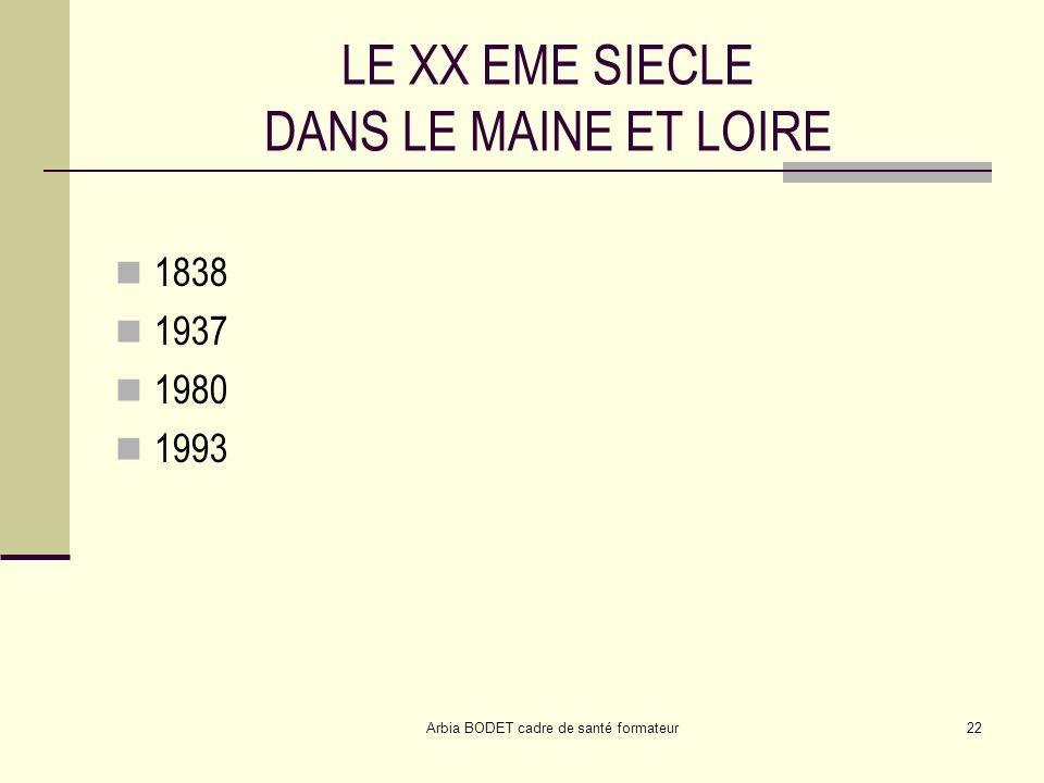 Arbia BODET cadre de santé formateur22 LE XX EME SIECLE DANS LE MAINE ET LOIRE 1838 1937 1980 1993