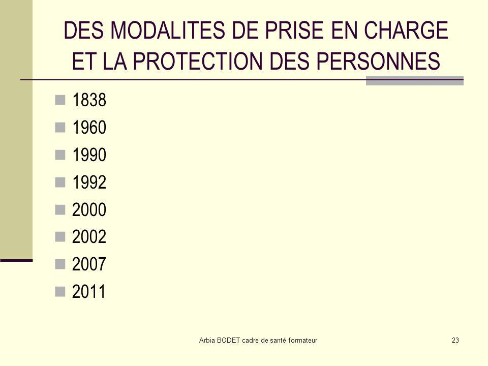 Arbia BODET cadre de santé formateur23 DES MODALITES DE PRISE EN CHARGE ET LA PROTECTION DES PERSONNES 1838 1960 1990 1992 2000 2002 2007 2011