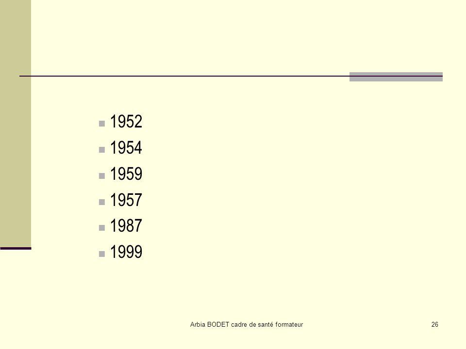 Arbia BODET cadre de santé formateur26 1952 1954 1959 1957 1987 1999