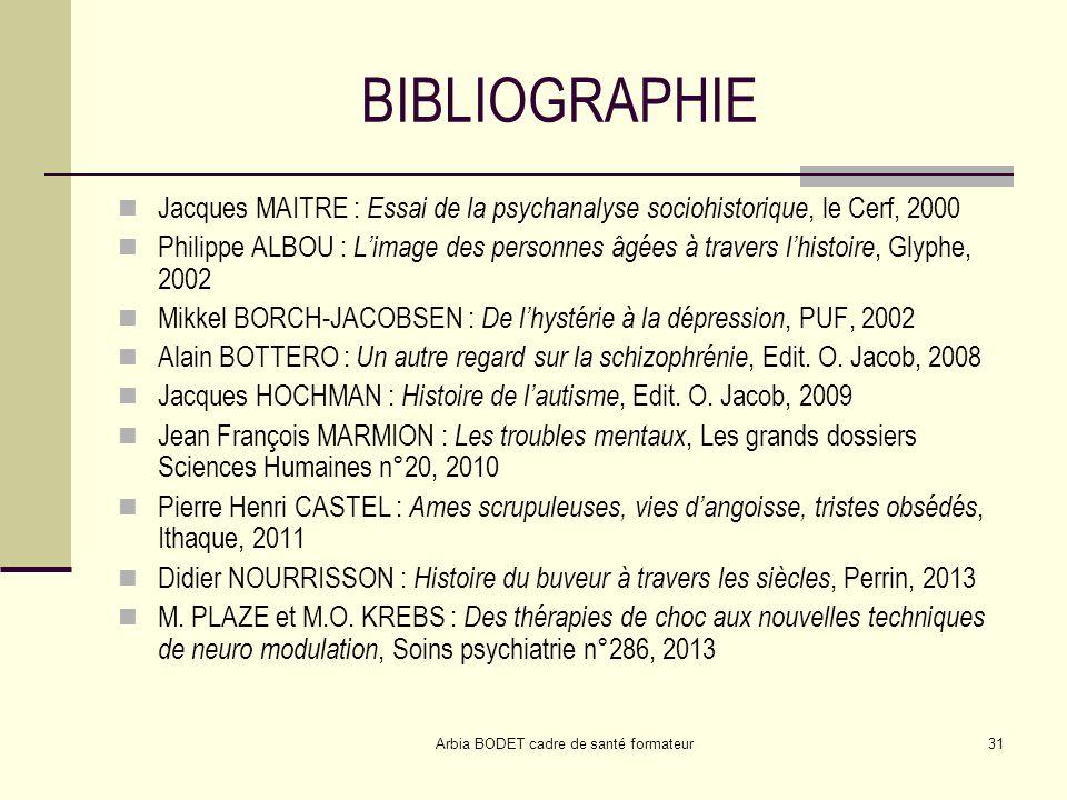 Arbia BODET cadre de santé formateur31 BIBLIOGRAPHIE Jacques MAITRE : Essai de la psychanalyse sociohistorique, le Cerf, 2000 Philippe ALBOU : Limage