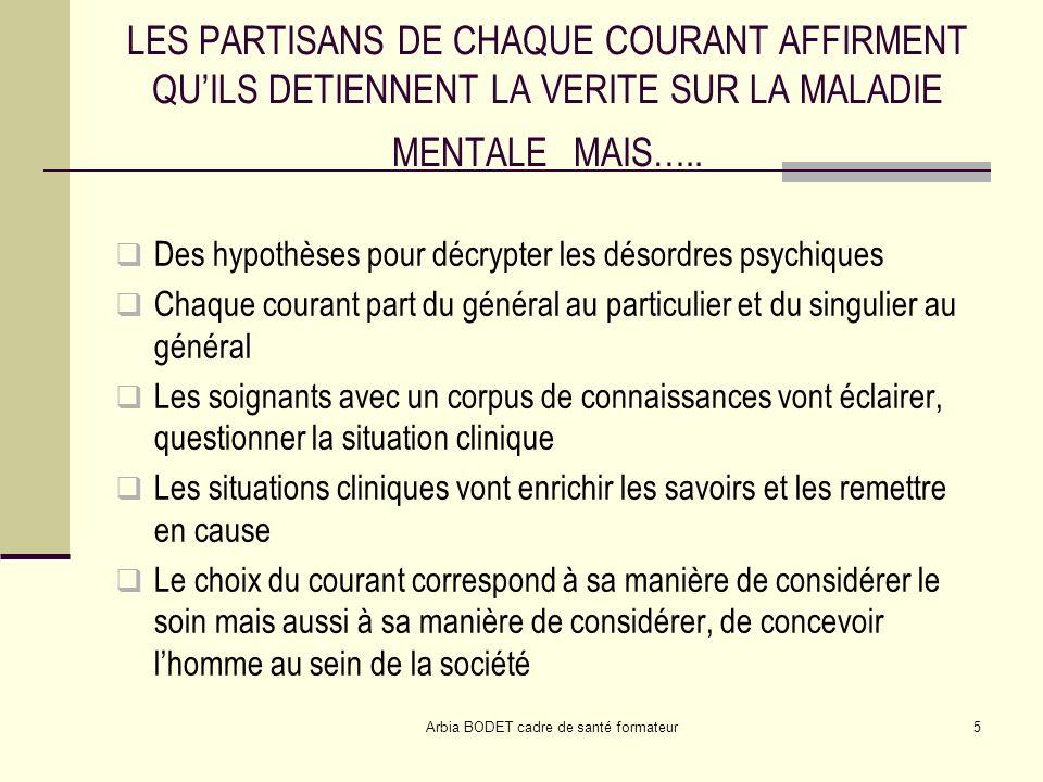 Arbia BODET cadre de santé formateur5 LES PARTISANS DE CHAQUE COURANT AFFIRMENT QUILS DETIENNENT LA VERITE SUR LA MALADIE MENTALE MAIS….. Des hypothès