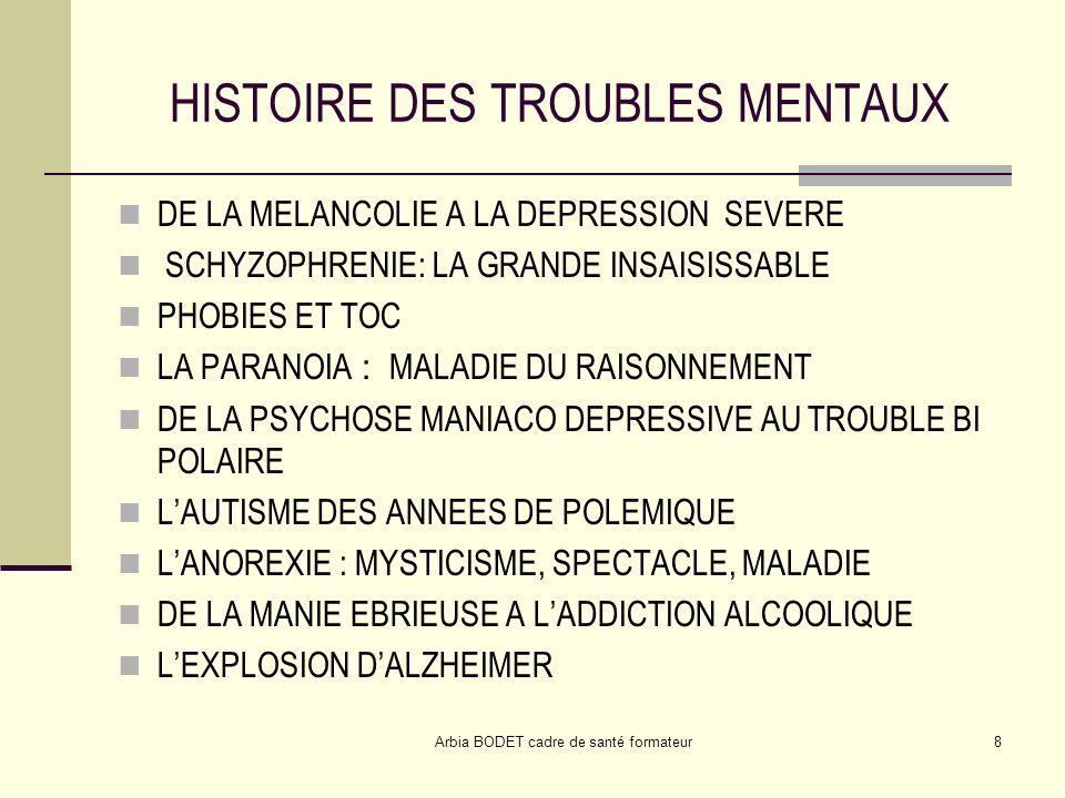 Arbia BODET cadre de santé formateur8 HISTOIRE DES TROUBLES MENTAUX DE LA MELANCOLIE A LA DEPRESSION SEVERE SCHYZOPHRENIE: LA GRANDE INSAISISSABLE PHO