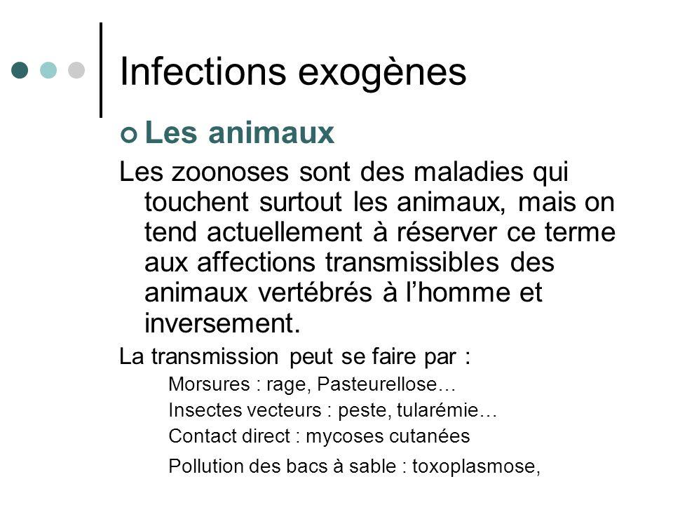 Les animaux Les zoonoses sont des maladies qui touchent surtout les animaux, mais on tend actuellement à réserver ce terme aux affections transmissibl
