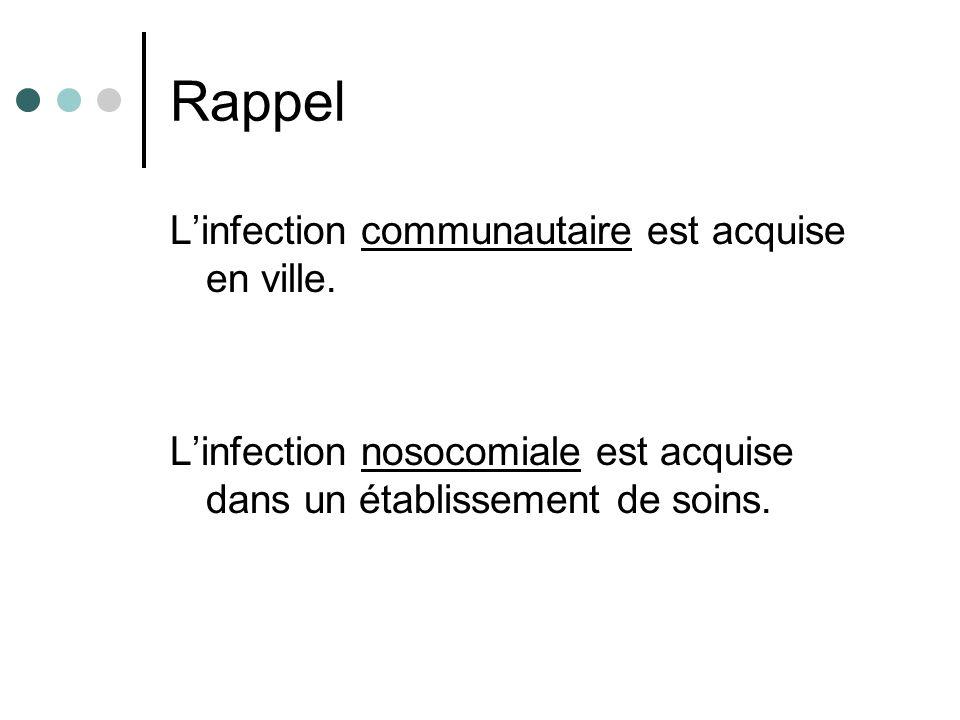 Rappel Linfection communautaire est acquise en ville. Linfection nosocomiale est acquise dans un établissement de soins.