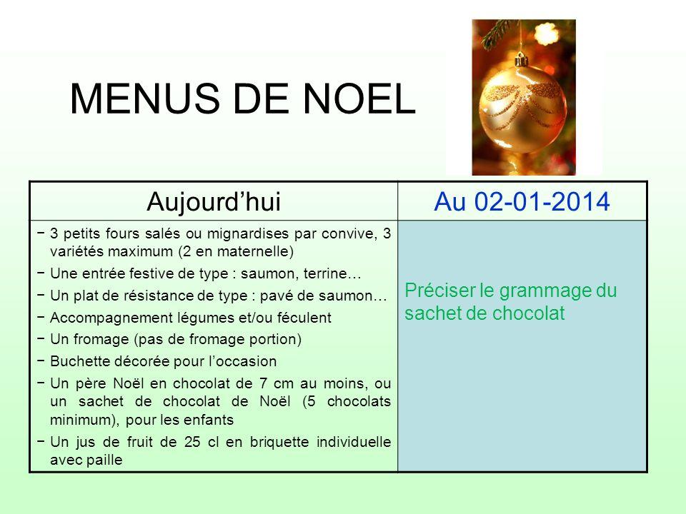 MENUS DE NOEL AujourdhuiAu 02-01-2014 3 petits fours salés ou mignardises par convive, 3 variétés maximum (2 en maternelle) Une entrée festive de type