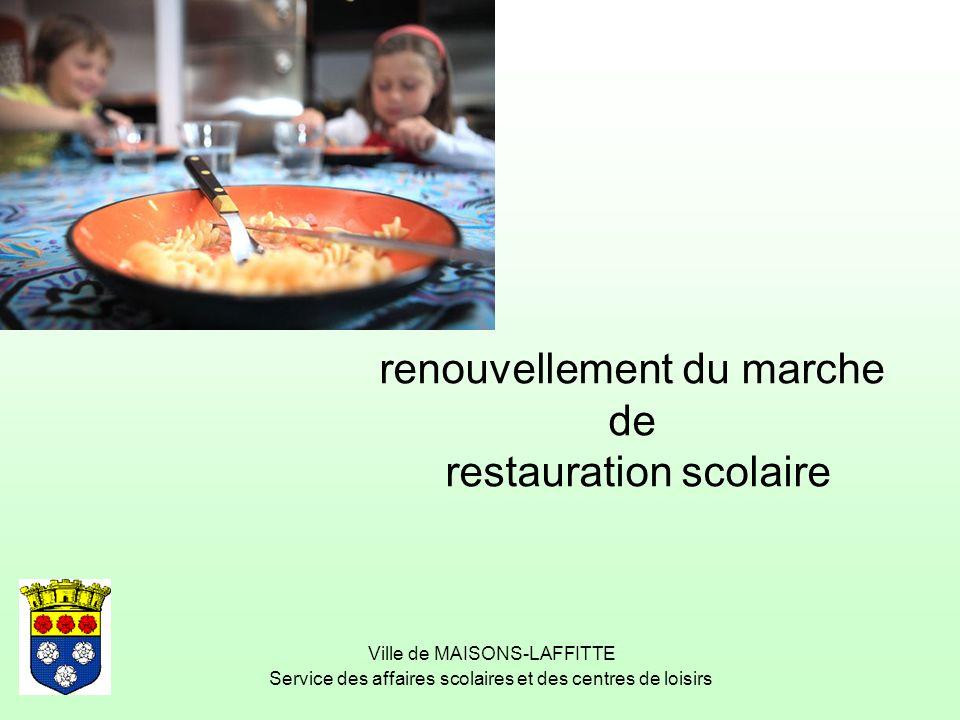 Ville de MAISONS-LAFFITTE Service des affaires scolaires et des centres de loisirs renouvellement du marche de restauration scolaire