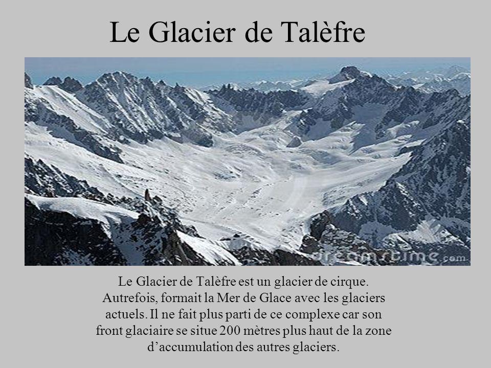 Le Glacier de Talèfre Le Glacier de Talèfre est un glacier de cirque. Autrefois, formait la Mer de Glace avec les glaciers actuels. Il ne fait plus pa