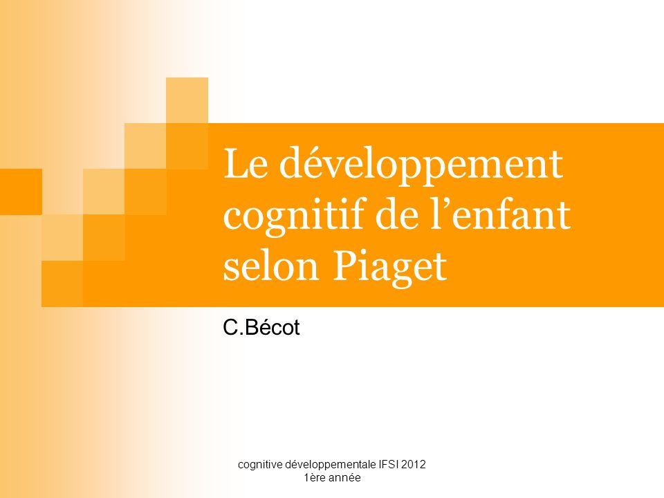 cognitive développementale IFSI 2012 1ère année Le développement cognitif de lenfant selon Piaget C.Bécot