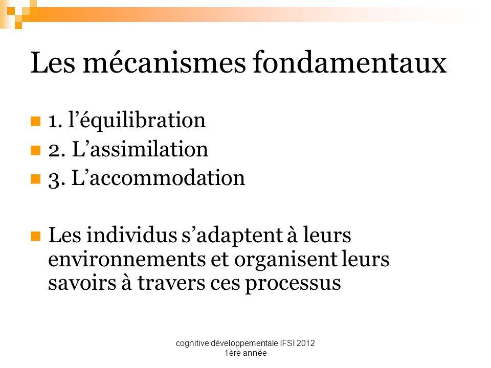 cognitive développementale IFSI 2012 1ère année Les mécanismes fondamentaux 1. léquilibration 2. Lassimilation 3. Laccommodation Les individus sadapte