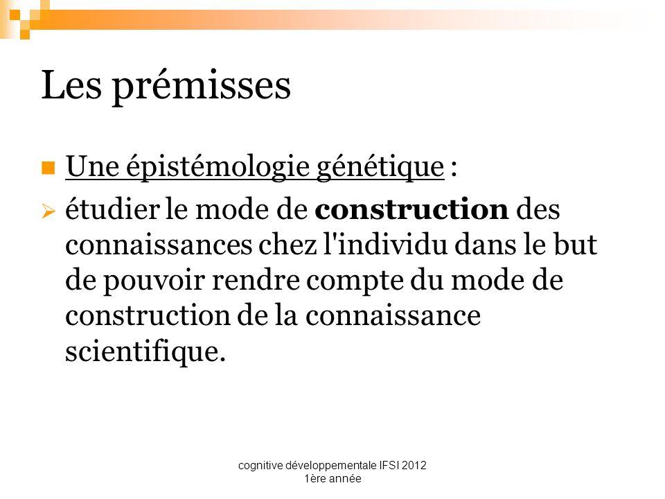 cognitive développementale IFSI 2012 1ère année Les prémisses Une épistémologie génétique : étudier le mode de construction des connaissances chez l'i