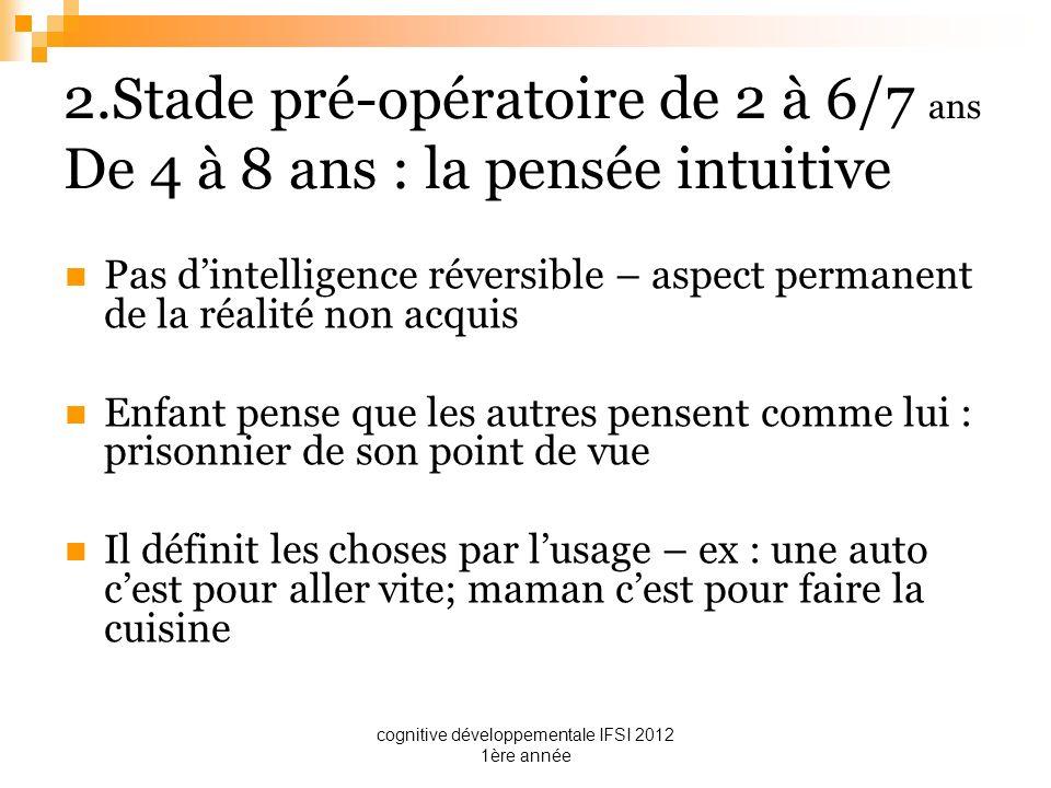 cognitive développementale IFSI 2012 1ère année 2.Stade pré-opératoire de 2 à 6/7 ans De 4 à 8 ans : la pensée intuitive Pas dintelligence réversible