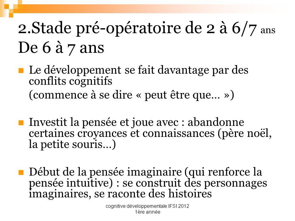 cognitive développementale IFSI 2012 1ère année 2.Stade pré-opératoire de 2 à 6/7 ans De 6 à 7 ans Le développement se fait davantage par des conflits