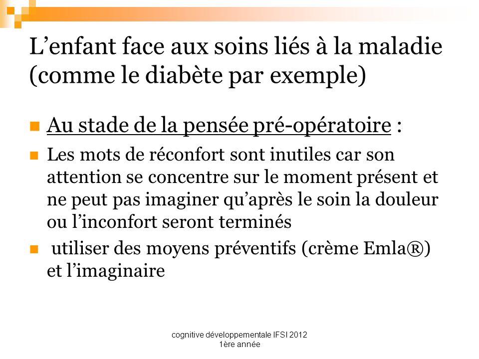 cognitive développementale IFSI 2012 1ère année Lenfant face aux soins liés à la maladie (comme le diabète par exemple) Au stade de la pensée pré-opér