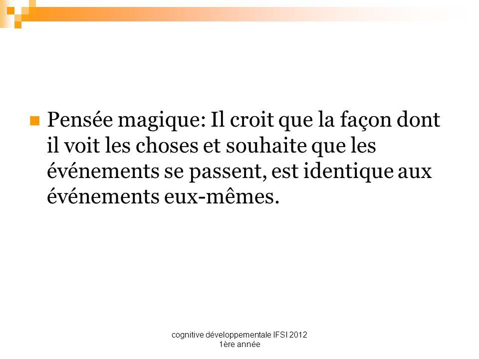 cognitive développementale IFSI 2012 1ère année Pensée magique: Il croit que la façon dont il voit les choses et souhaite que les événements se passen