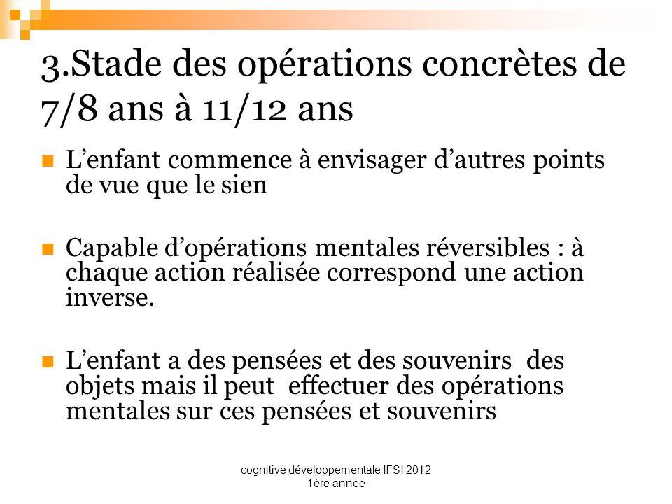 cognitive développementale IFSI 2012 1ère année 3.Stade des opérations concrètes de 7/8 ans à 11/12 ans Lenfant commence à envisager dautres points de