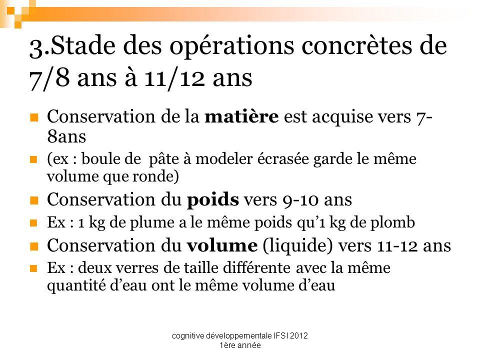 cognitive développementale IFSI 2012 1ère année 3.Stade des opérations concrètes de 7/8 ans à 11/12 ans Conservation de la matière est acquise vers 7-