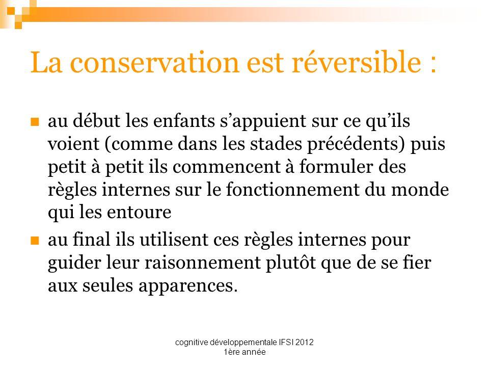 cognitive développementale IFSI 2012 1ère année La conservation est réversible : au début les enfants sappuient sur ce quils voient (comme dans les st