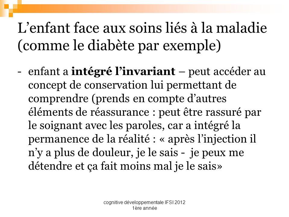 cognitive développementale IFSI 2012 1ère année Lenfant face aux soins liés à la maladie (comme le diabète par exemple) -enfant a intégré linvariant –