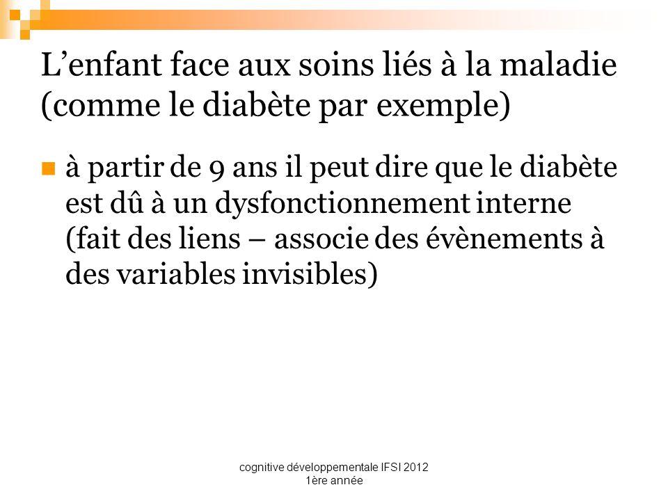 cognitive développementale IFSI 2012 1ère année Lenfant face aux soins liés à la maladie (comme le diabète par exemple) à partir de 9 ans il peut dire