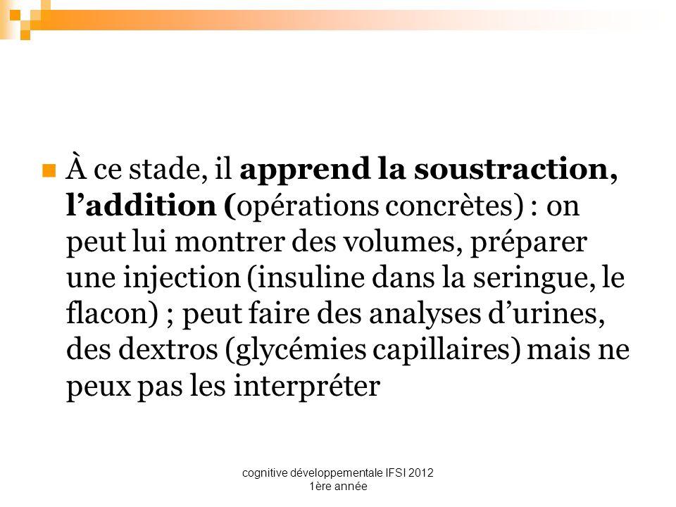 cognitive développementale IFSI 2012 1ère année À ce stade, il apprend la soustraction, laddition (opérations concrètes) : on peut lui montrer des vol
