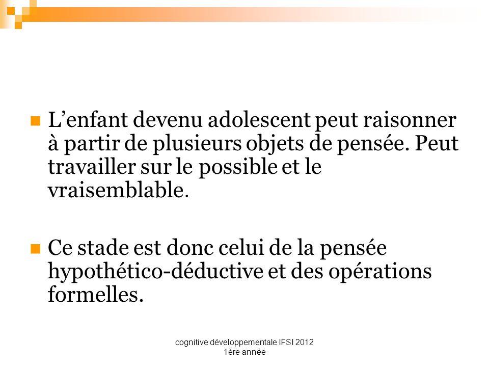 cognitive développementale IFSI 2012 1ère année Lenfant devenu adolescent peut raisonner à partir de plusieurs objets de pensée. Peut travailler sur l