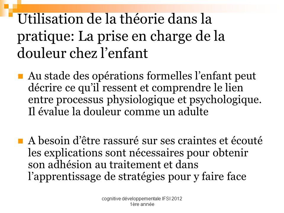 cognitive développementale IFSI 2012 1ère année Utilisation de la théorie dans la pratique: La prise en charge de la douleur chez lenfant Au stade des