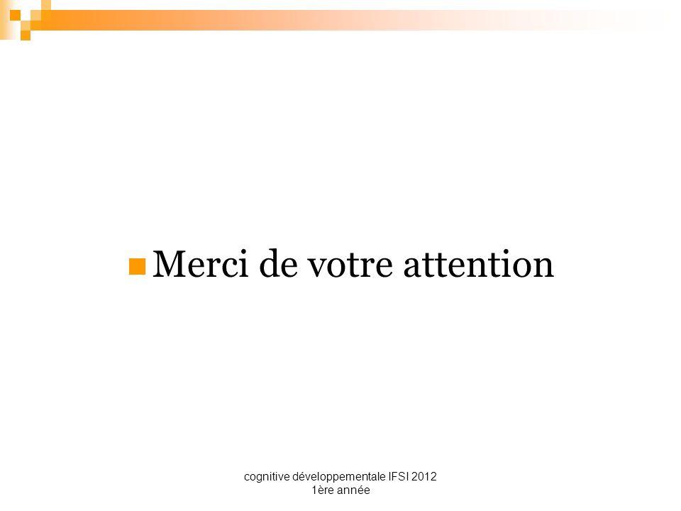 cognitive développementale IFSI 2012 1ère année Merci de votre attention