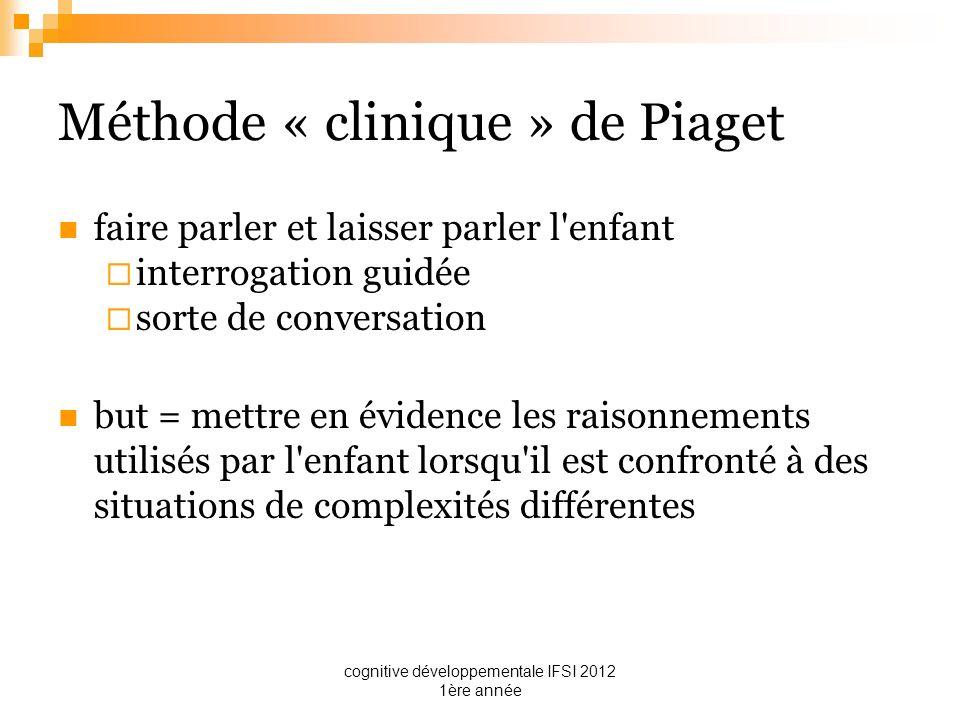 cognitive développementale IFSI 2012 1ère année Méthode « clinique » de Piaget faire parler et laisser parler l'enfant interrogation guidée sorte de c