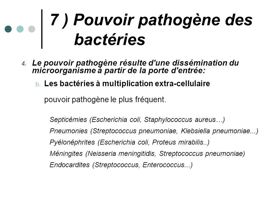4. Le pouvoir pathogène résulte d'une dissémination du microorganisme à partir de la porte d'entrée: b. Les bactéries à multiplication extra-cellulair