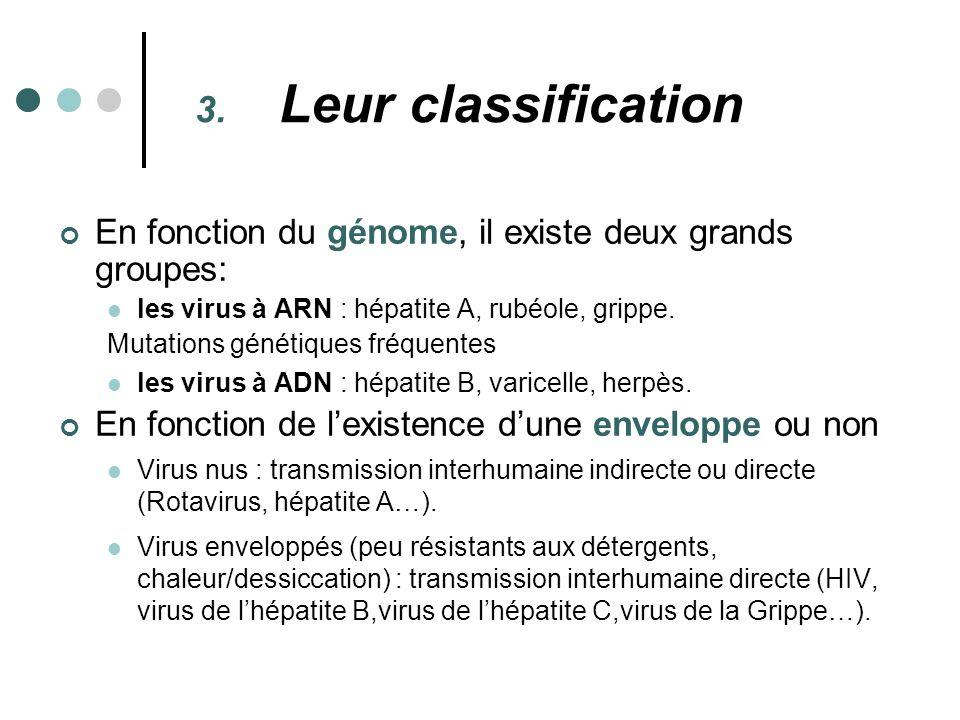 3. Leur classification En fonction du génome, il existe deux grands groupes: les virus à ARN : hépatite A, rubéole, grippe. Mutations génétiques fréqu