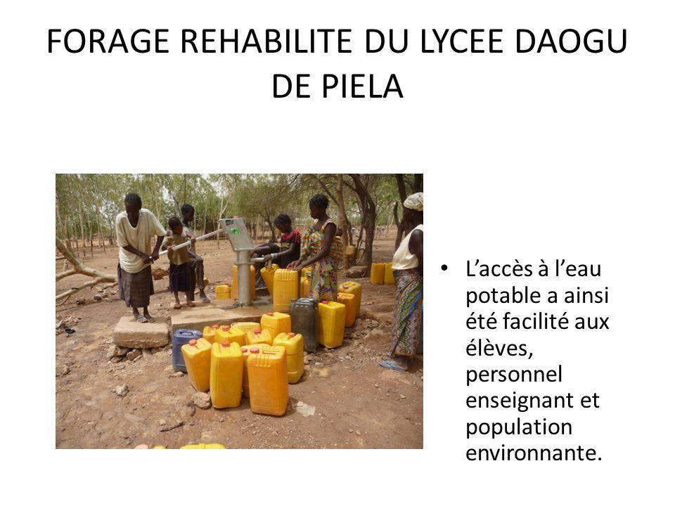 FORAGE REHABILITE DU LYCEE DAOGU DE PIELA Laccès à leau potable a ainsi été facilité aux élèves, personnel enseignant et population environnante.