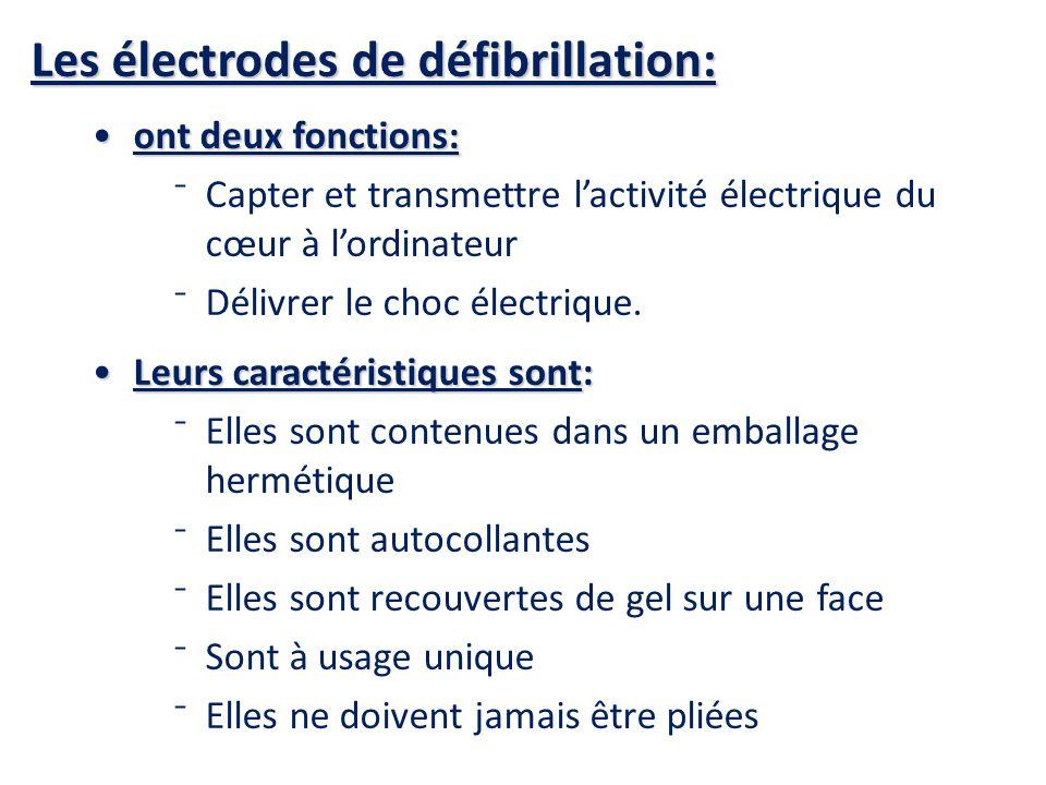 Les électrodes de défibrillation: ont deux fonctions:ont deux fonctions: Capter et transmettre lactivité électrique du cœur à lordinateur Délivrer le