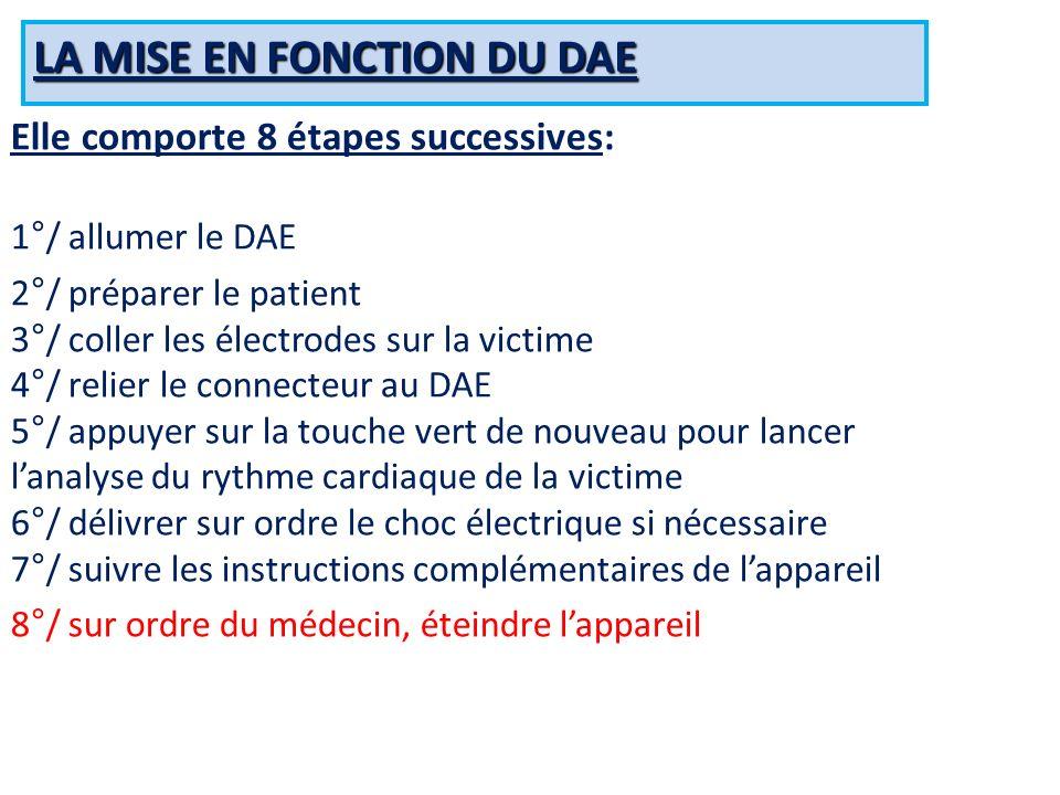 LA MISE EN FONCTION DU DAE Elle comporte 8 étapes successives: 1°/ allumer le DAE 2°/ préparer le patient 3°/ coller les électrodes sur la victime 4°/