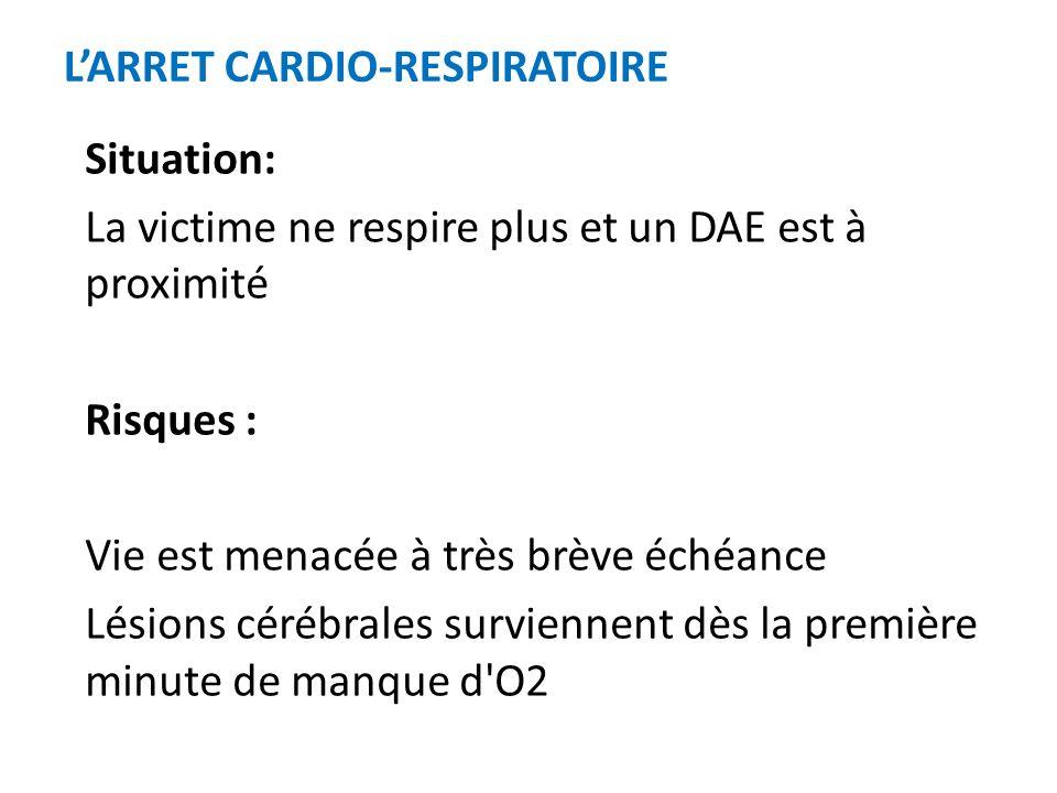 Dans tous les cas : suivre les instructions du DAE qui peut demander darrêter la RCP pour effectuer une nouvelle analyse Poursuivre les gestes jusquau relais effectué par les secours ou à la reprise de la respiration normale de la victime