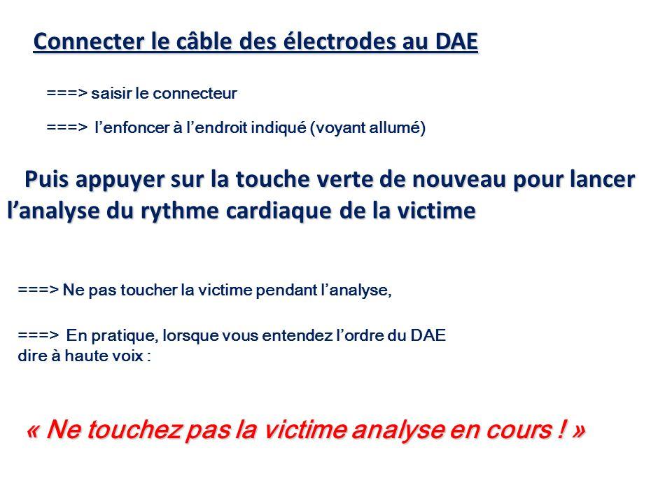 Connecter le câble des électrodes au DAE ===> saisir le connecteur ===> lenfoncer à lendroit indiqué (voyant allumé) ===> Ne pas toucher la victime pe
