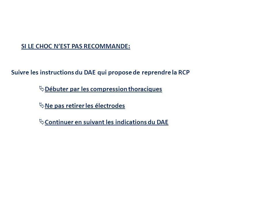 SI LE CHOC NEST PAS RECOMMANDE: Suivre les instructions du DAE qui propose de reprendre la RCP Débuter par les compression thoraciques Ne pas retirer