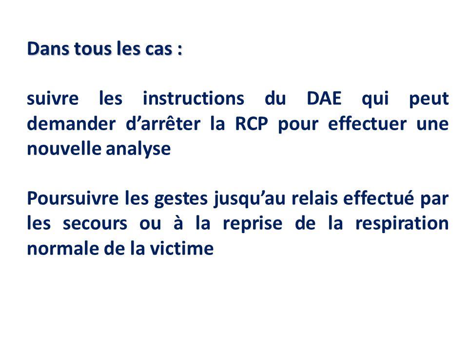 Dans tous les cas : suivre les instructions du DAE qui peut demander darrêter la RCP pour effectuer une nouvelle analyse Poursuivre les gestes jusquau