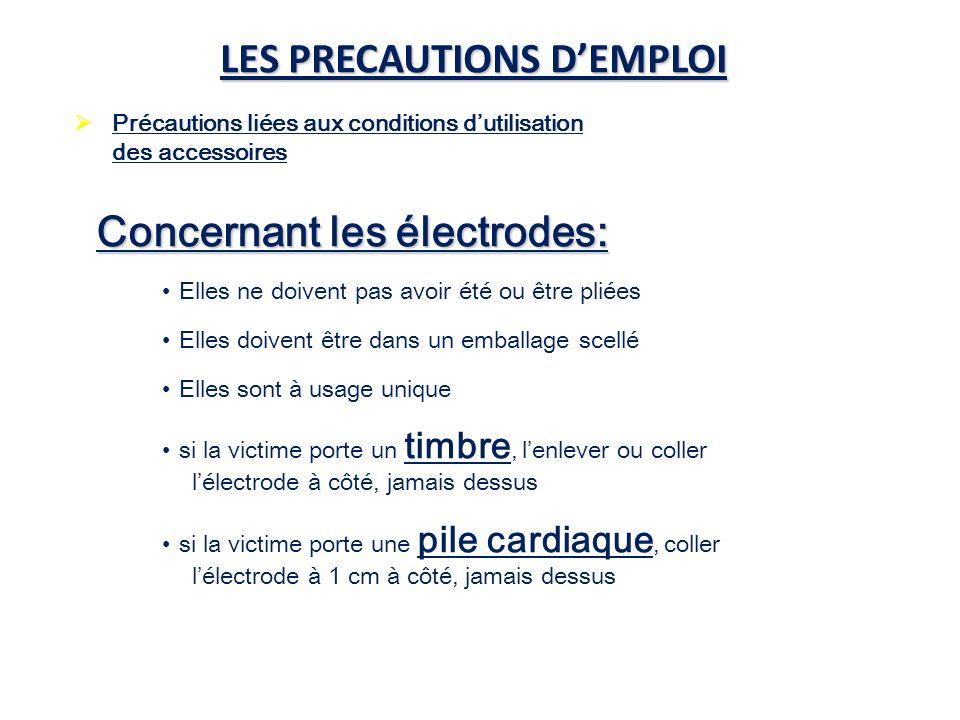 LES PRECAUTIONS DEMPLOI Précautions liées aux conditions dutilisation des accessoires Concernant les électrodes: Elles ne doivent pas avoir été ou êtr
