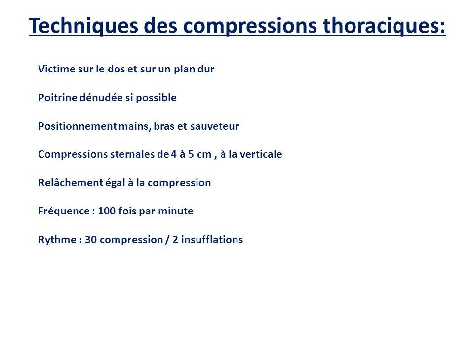 Techniques des compressions thoraciques: Victime sur le dos et sur un plan dur Poitrine dénudée si possible Positionnement mains, bras et sauveteur Co