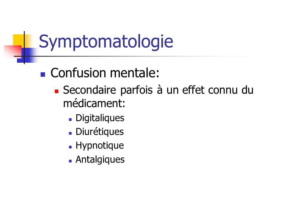 Symptomatologie Confusion mentale: Secondaire parfois à un effet connu du médicament: Digitaliques Diurétiques Hypnotique Antalgiques